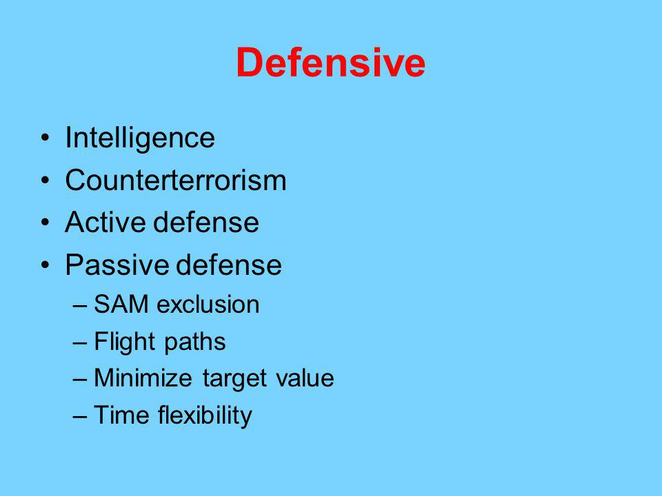 Defensive Intelligence Counterterrorism Active defense Passive defense –SAM exclusion –Flight paths –Minimize target value –Time flexibility