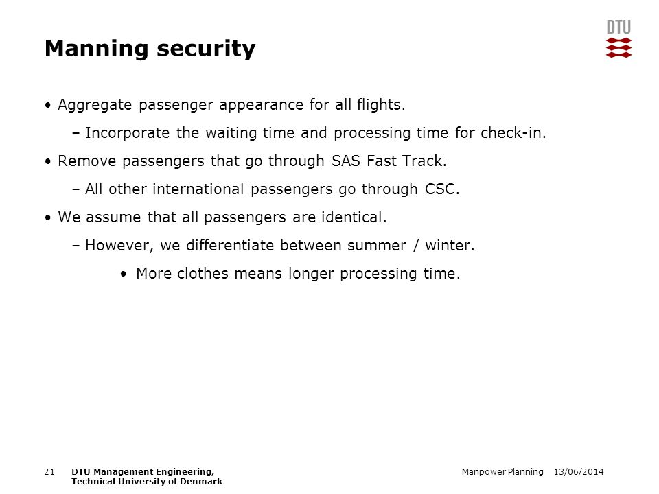 13/06/2014Manpower Planning21DTU Management Engineering, Technical University of Denmark Manning security Aggregate passenger appearance for all flights.