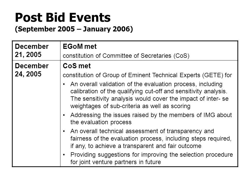 Post Bid Events (September 2005 – January 2006) December 21, 2005 EGoM met constitution of Committee of Secretaries (CoS) December 24, 2005 CoS met co