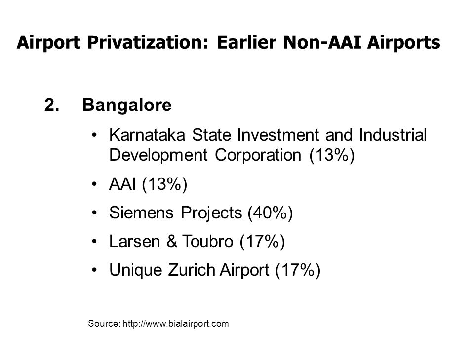 Airport Privatization: Earlier Non-AAI Airports 2.Bangalore Karnataka State Investment and Industrial Development Corporation (13%) AAI (13%) Siemens