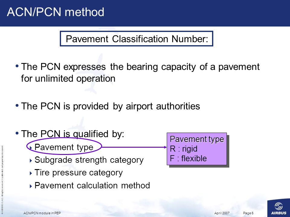 © AIRBUS S.A.S. All rights reserved. Confidential and proprietary document. April 2007ACN/PCN module in PEPPage 6 Pavement Classification Number: The