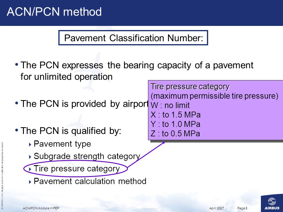© AIRBUS S.A.S. All rights reserved. Confidential and proprietary document. April 2007ACN/PCN module in PEPPage 8 Pavement Classification Number: The