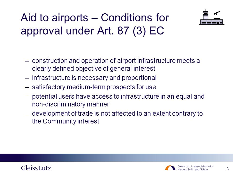 13 Aid to airports – Conditions for approval under Art.