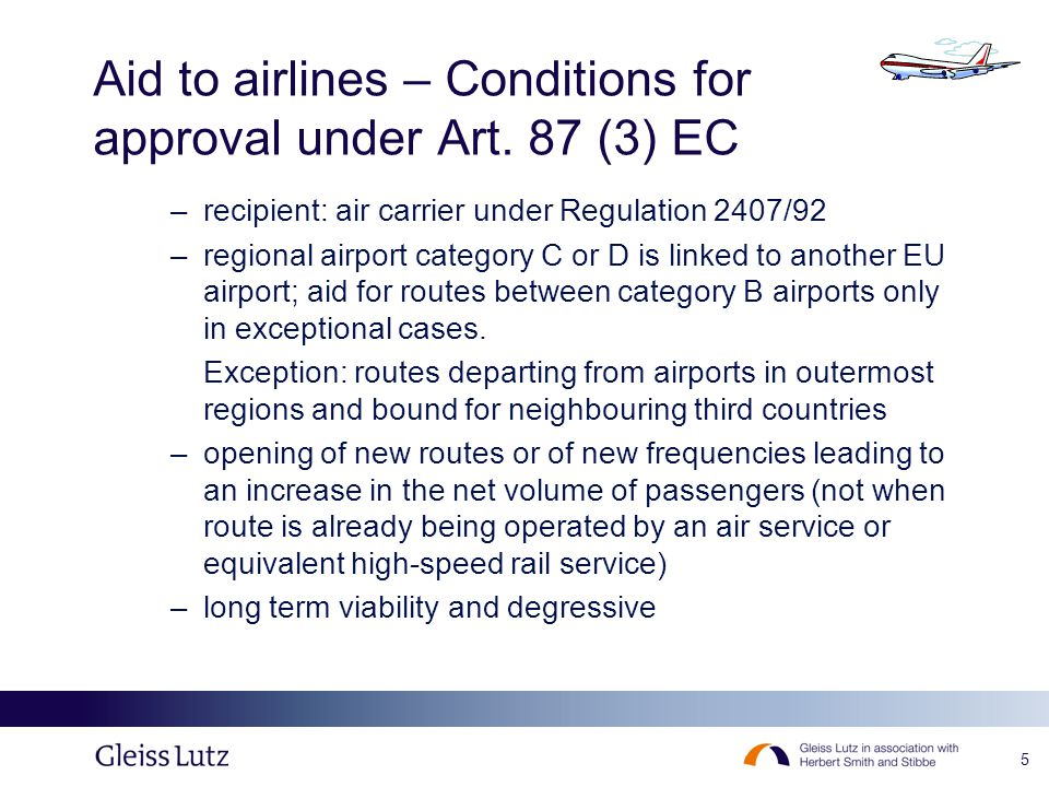 5 Aid to airlines – Conditions for approval under Art.