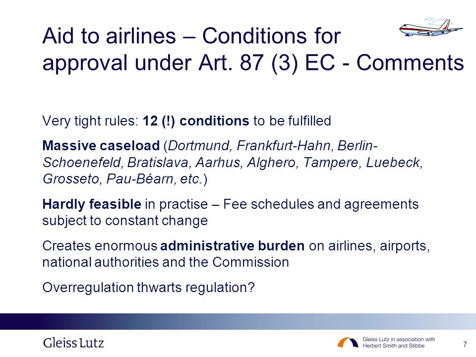 7 Aid to airlines – Conditions for approval under Art.