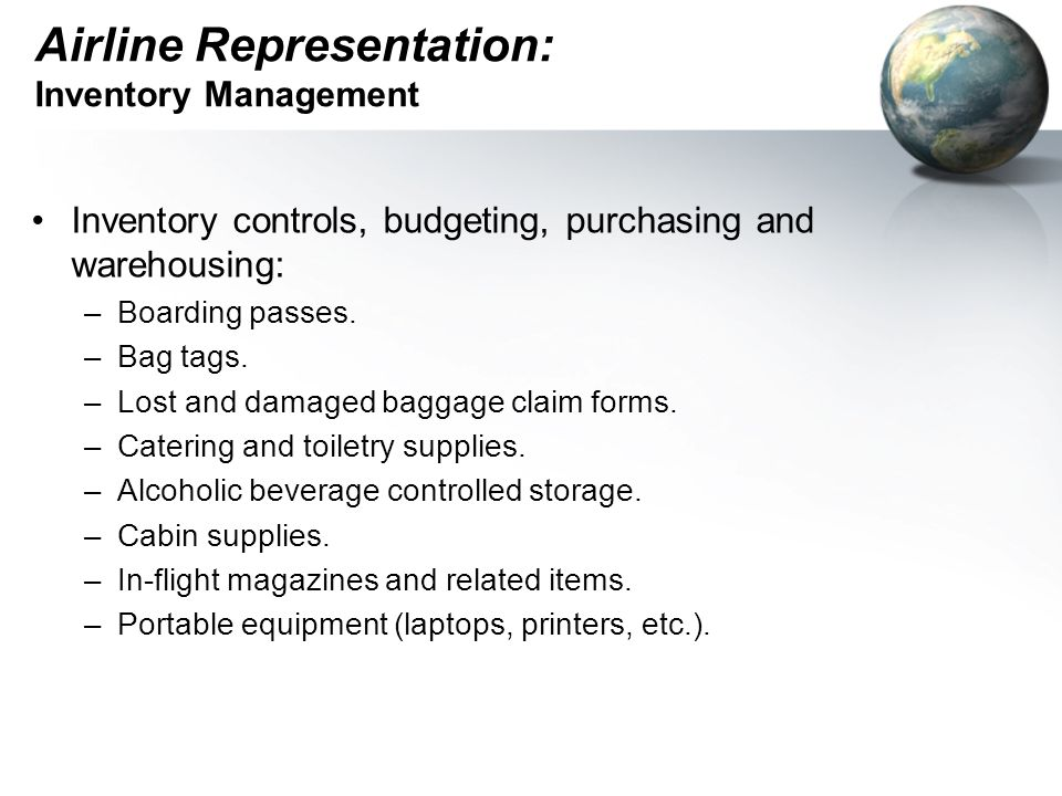 Airline Representation: Financial responsibility.Pre-payments and deposits.