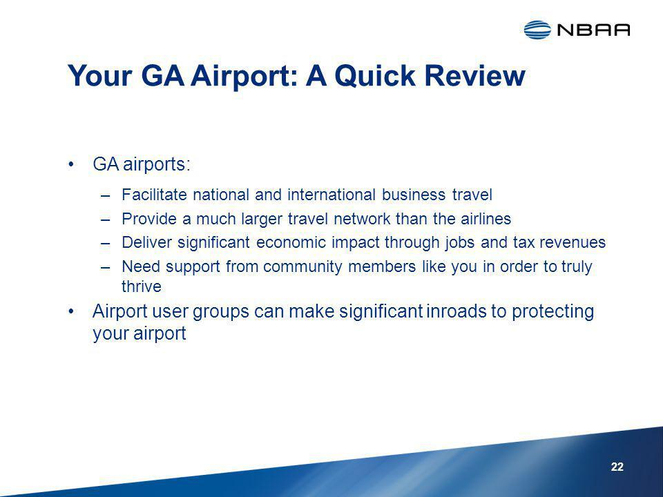 Your GA Airport: A Quick Review GA airports: –Facilitate national and international business travel –Provide a much larger travel network than the airlines –Deliver significant economic impact through jobs and tax revenues –Need support from community members like you in order to truly thrive Airport user groups can make significant inroads to protecting your airport 22