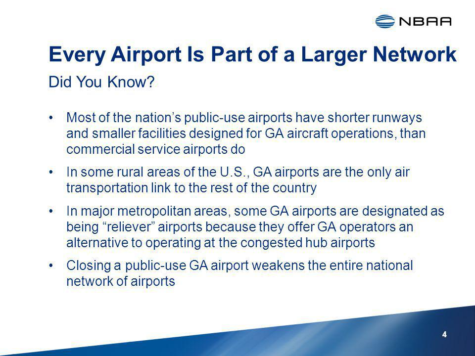 Every Airport Is Part of a Larger Network Most of the nations public-use airports have shorter runways and smaller facilities designed for GA aircraft operations, than commercial service airports do In some rural areas of the U.S., GA airports are the only air transportation link to the rest of the country In major metropolitan areas, some GA airports are designated as being reliever airports because they offer GA operators an alternative to operating at the congested hub airports Closing a public-use GA airport weakens the entire national network of airports Did You Know.