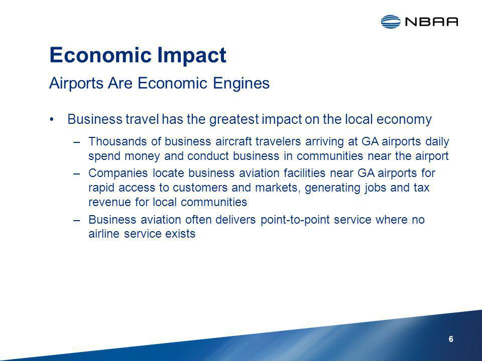 Economic Impact Business travel has the greatest impact on the local economy –Thousands of business aircraft travelers arriving at GA airports daily spend money and conduct business in communities near the airport –Companies locate business aviation facilities near GA airports for rapid access to customers and markets, generating jobs and tax revenue for local communities –Business aviation often delivers point-to-point service where no airline service exists Airports Are Economic Engines 6