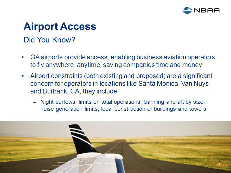 Airport Access GA airports provide access, enabling business aviation operators to fly anywhere, anytime, saving companies time and money Airport constraints (both existing and proposed) are a significant concern for operators in locations like Santa Monica, Van Nuys and Burbank, CA; they include: –Night curfews; limits on total operations; banning aircraft by size; noise generation limits; local construction of buildings and towers Did You Know.