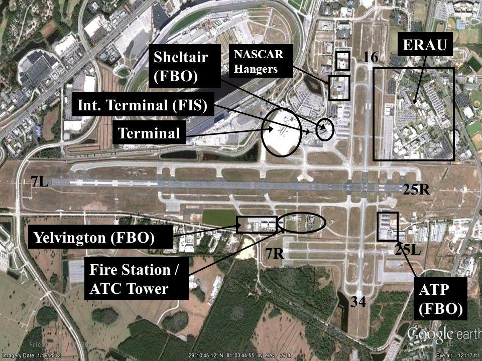 Terminal Yelvington (FBO) Fire Station / ATC Tower ERAU Sheltair (FBO) NASCAR Hangers 7L 25R 34 16 7R 25L Int.