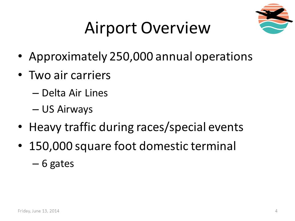 Airport Overview Approximately 250,000 annual operations Two air carriers – Delta Air Lines – US Airways Heavy traffic during races/special events 150