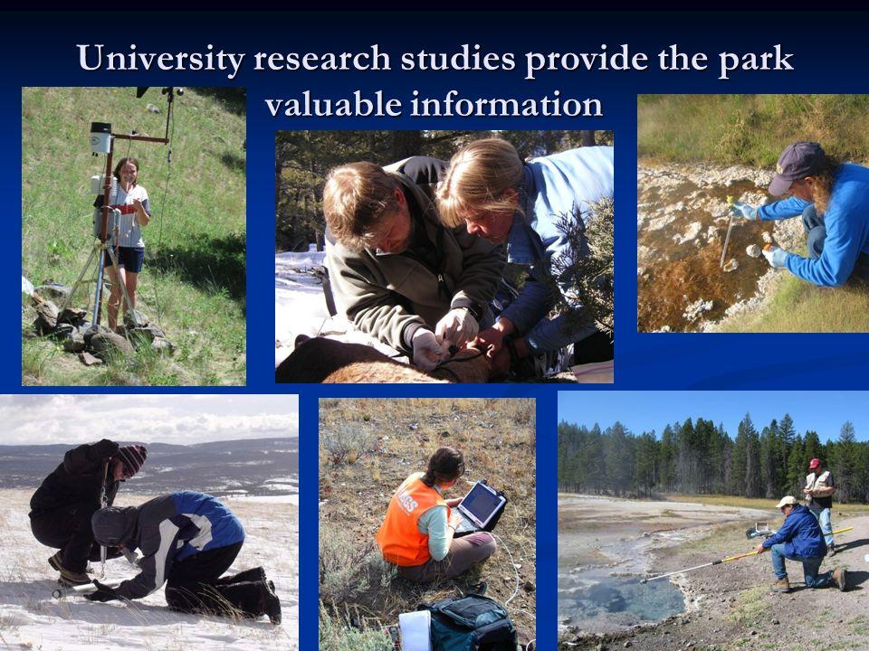 University research studies provide the park valuable information