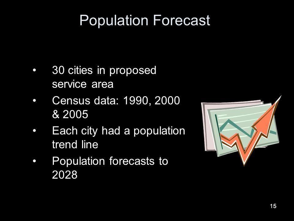 15 Population Forecast 30 cities in proposed service area Census data: 1990, 2000 & 2005 Each city had a population trend line Population forecasts to