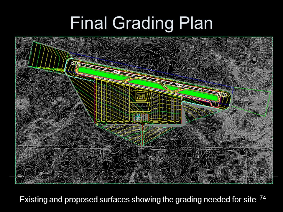 74 Final Grading Plan Existing and proposed surfaces showing the grading needed for site
