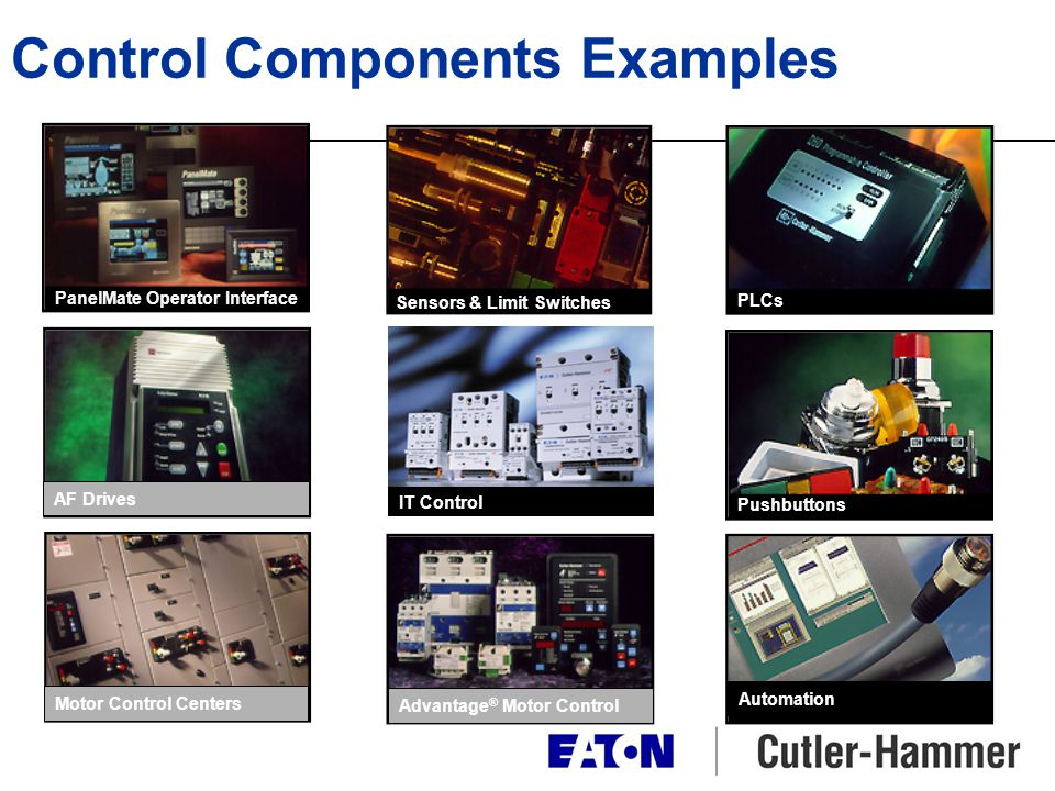 AF Drives Motor Control CentersAdvantage ® Motor Control Pushbuttons Automation PanelMate ® PanelMate Operator Interface Sensors and Limit Switches Se