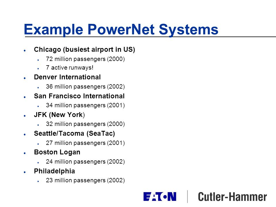 Example PowerNet Systems l Chicago (busiest airport in US) n 72 million passengers (2000) n 7 active runways! l Denver International n 36 million pass
