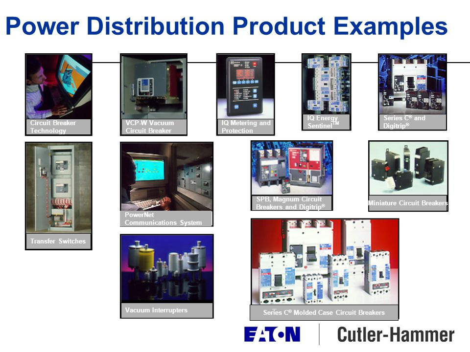 Power Distribution Product Examples Series C ® Molded Case Circuit Breakers Vacuum Interrupters Transfer Switches Circuit Breaker Technology VCP-W Vac
