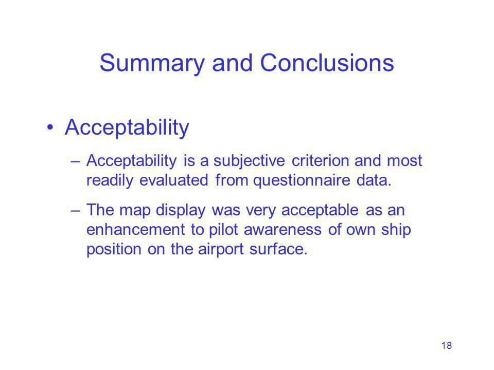 18 Summary and Conclusions Acceptability –Acceptability is a subjective criterion and most readily evaluated from questionnaire data.