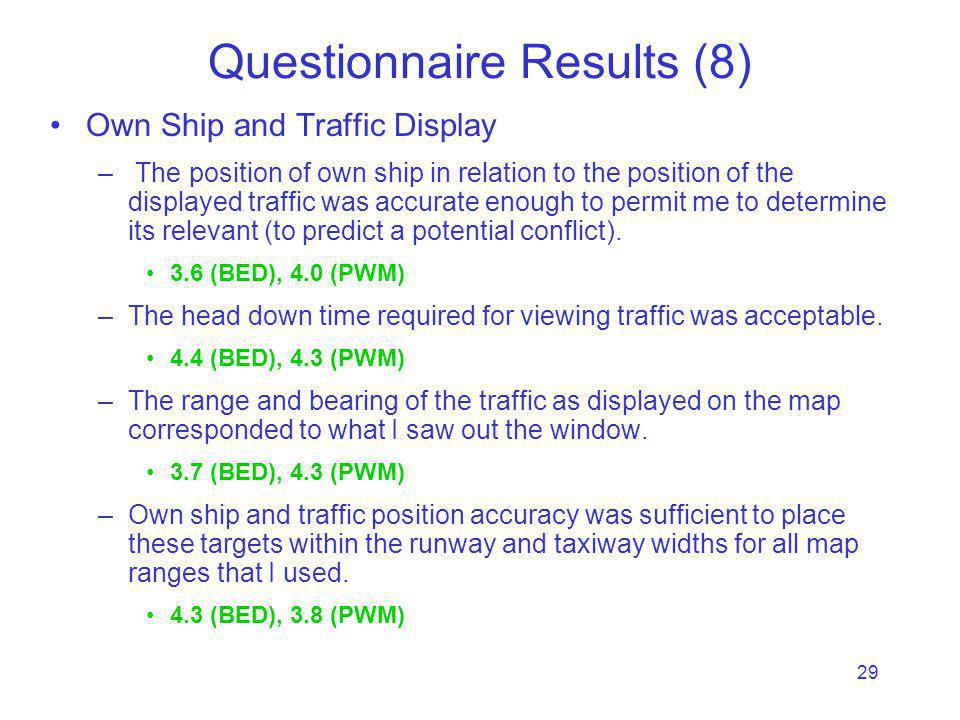 29 Questionnaire Results (8) Own Ship and Traffic Display – The position of own ship in relation to the position of the displayed traffic was accurate enough to permit me to determine its relevant (to predict a potential conflict).