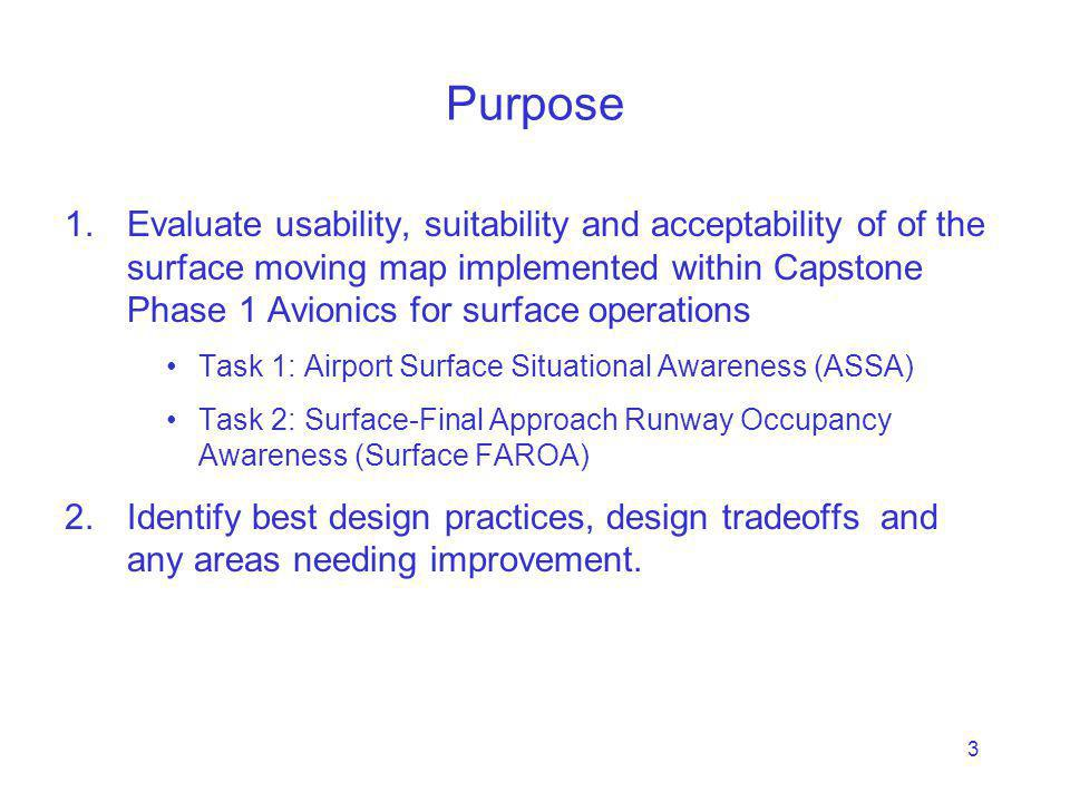 3 Purpose 1.Evaluate usability, suitability and acceptability of of the surface moving map implemented within Capstone Phase 1 Avionics for surface operations Task 1: Airport Surface Situational Awareness (ASSA) Task 2: Surface-Final Approach Runway Occupancy Awareness (Surface FAROA) 2.Identify best design practices, design tradeoffs and any areas needing improvement.