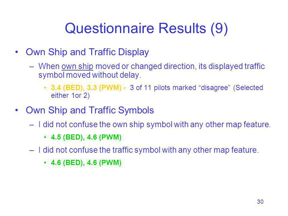 30 Questionnaire Results (9) Own Ship and Traffic Display –When own ship moved or changed direction, its displayed traffic symbol moved without delay.