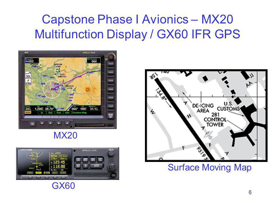 6 Capstone Phase I Avionics – MX20 Multifunction Display / GX60 IFR GPS MX20 Surface Moving Map GX60