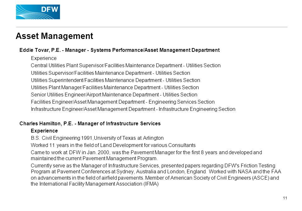 11 Asset Management Eddie Tovar, P.E.