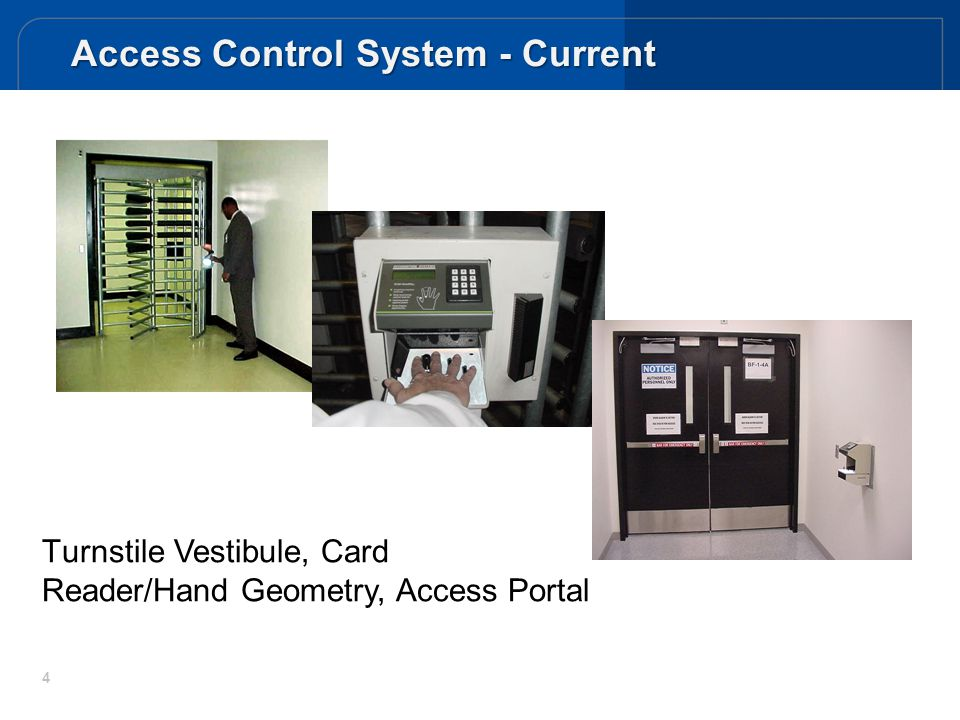 4 T urnstile Vestibule, Card Reader/Hand Geometry, Access Portal Access Control System - Current