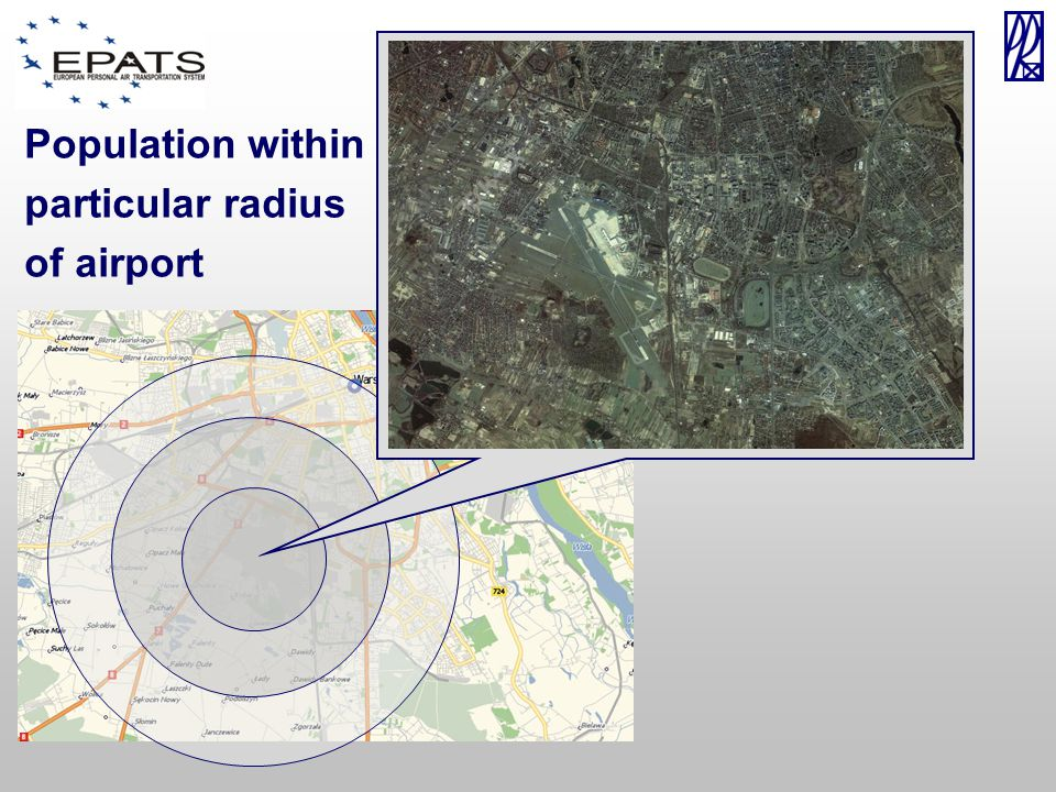 Population within particular radius of airport