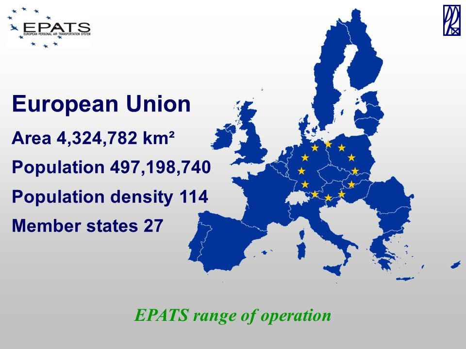 EPATS range of operation European Union Area 4,324,782 km² Population 497,198,740 Population density 114 Member states 27