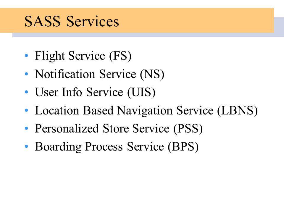 SASS Services Flight Service (FS) Notification Service (NS) User Info Service (UIS) Location Based Navigation Service (LBNS) Personalized Store Service (PSS) Boarding Process Service (BPS)