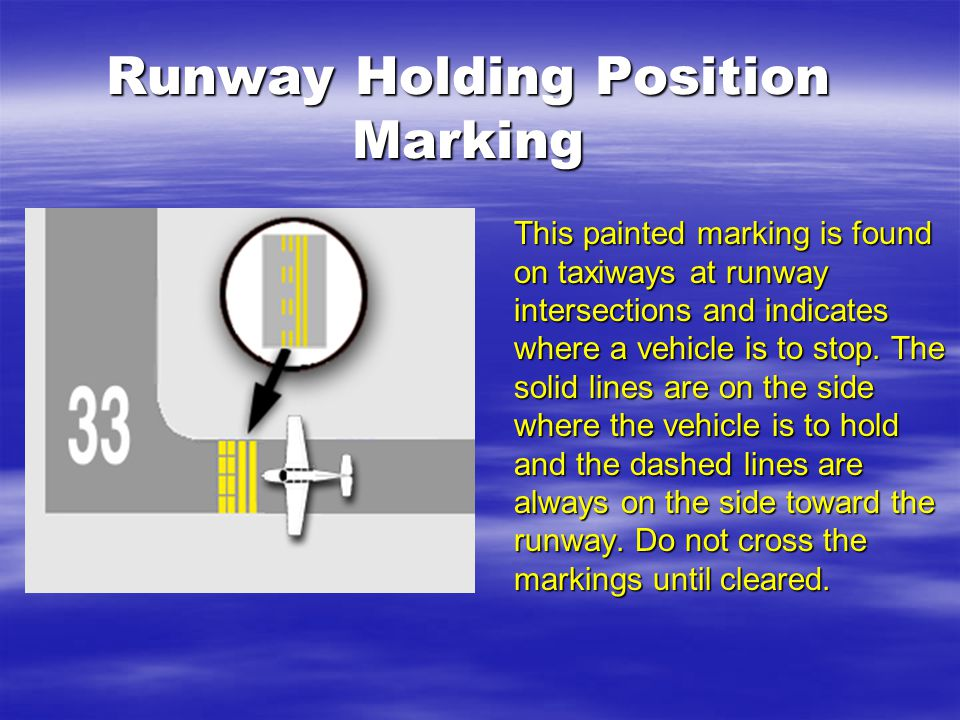 Runway Holding Position Marking This painted marking is found on taxiways at runway intersections and indicates where a vehicle is to stop.