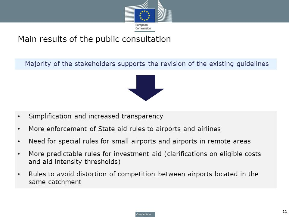 Main results of the public consultation Simplification and increased transparency More enforcement of State aid rules to airports and airlines Need for special rules for small airports and airports in remote areas More predictable rules for investment aid (clarifications on eligible costs and aid intensity thresholds) Rules to avoid distortion of competition between airports located in the same catchment Majority of the stakeholders supports the revision of the existing guidelines 11