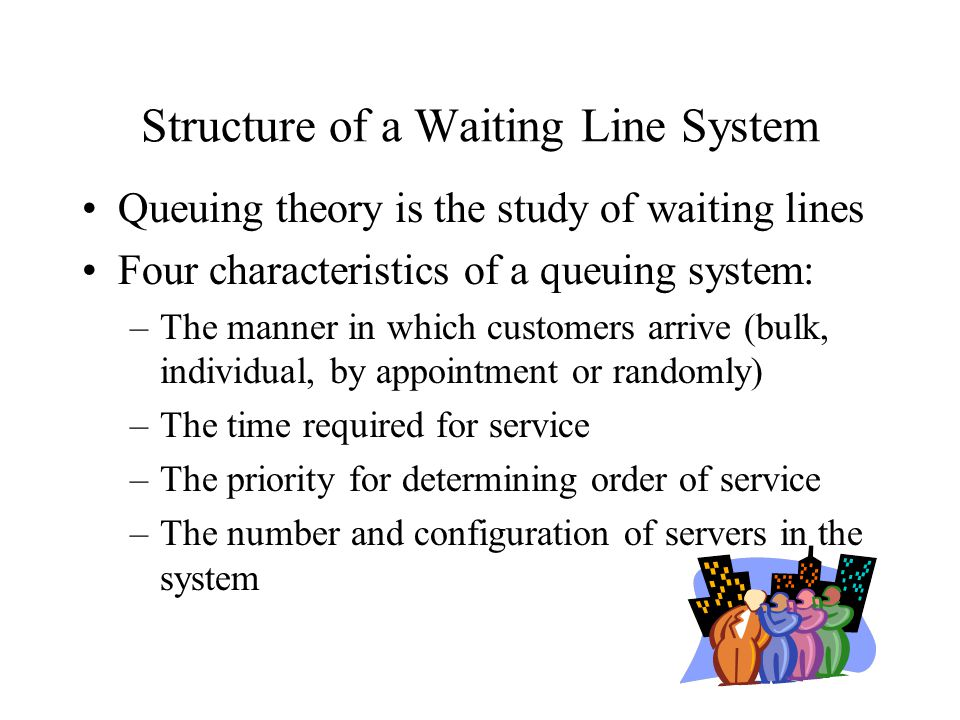 Structure of a Waiting Line System Queuing theory is the study of waiting lines Four characteristics of a queuing system: –The manner in which custome
