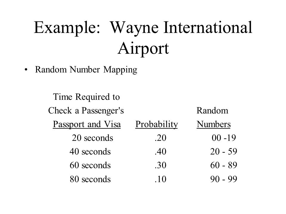 Example: Wayne International Airport Random Number Mapping Time Required to Check a Passenger's Random Passport and Visa Probability Numbers 20 second