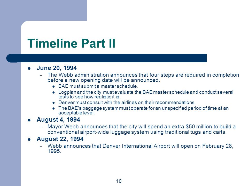 10 Timeline Part II June 20, 1994 – The Webb administration announces that four steps are required in completion before a new opening date will be announced.