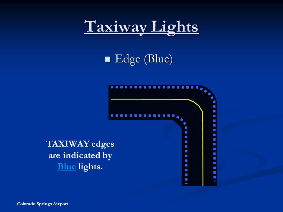 Colorado Springs Airport Taxiway Lights Edge (Blue) Edge (Blue) TAXIWAY edges are indicated by Blue lights.