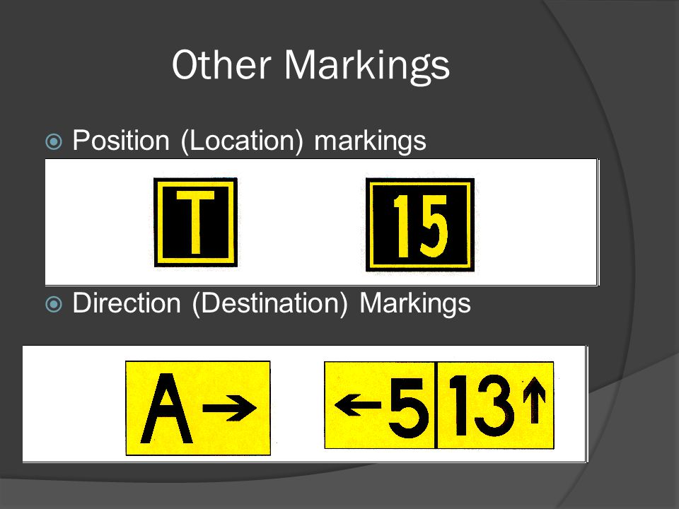 Other Markings Position (Location) markings Direction (Destination) Markings