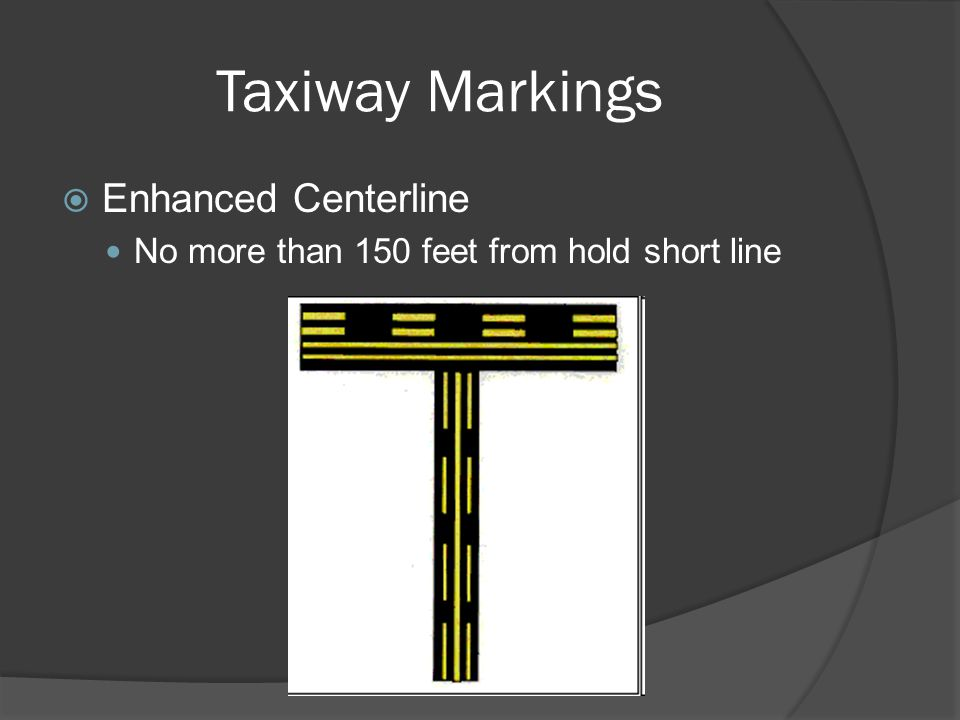 Taxiway Markings Enhanced Centerline No more than 150 feet from hold short line