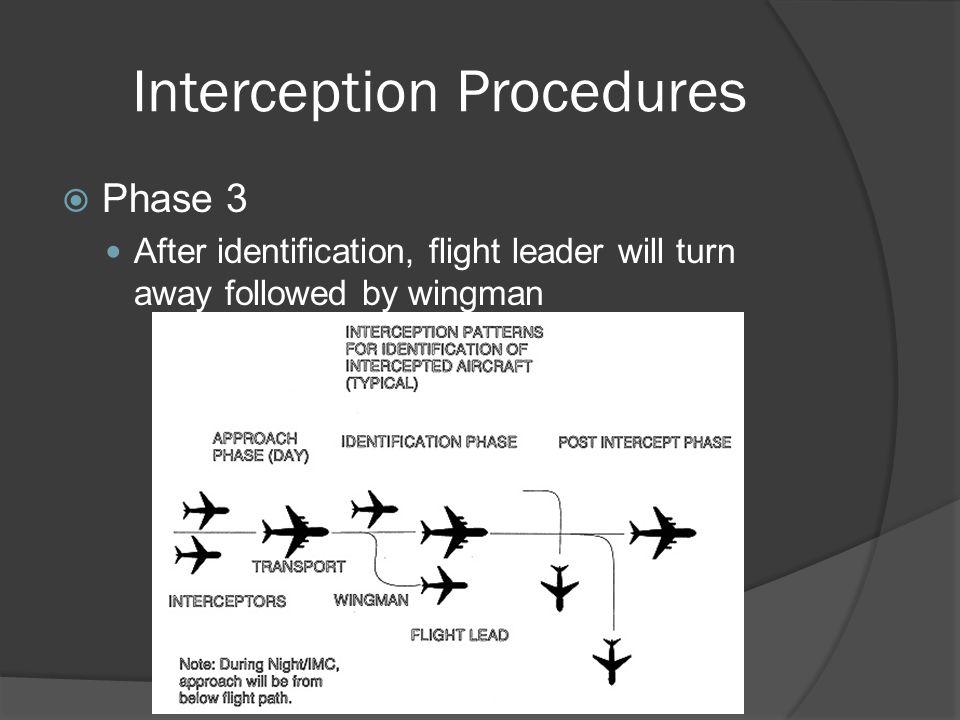Interception Procedures Phase 3 After identification, flight leader will turn away followed by wingman