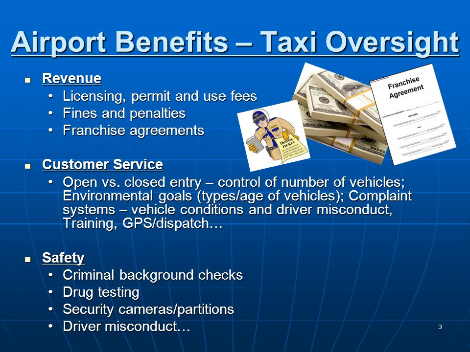 14 Partnership Approach Benefits: Benefits: Consistent regulation allows ground transportation providers to meet City and Airport standards with minimal additional costsConsistent regulation allows ground transportation providers to meet City and Airport standards with minimal additional costs Service expectations of the consumer may be met by ground transportation providers at the airport and those used throughout the jurisdictionService expectations of the consumer may be met by ground transportation providers at the airport and those used throughout the jurisdiction Cons: Cons: May be difficult to implement and/or maintain in larger marketMay be difficult to implement and/or maintain in larger market Question of whether the City and Airport have an equal say in the promulgation of new standards/regulationsQuestion of whether the City and Airport have an equal say in the promulgation of new standards/regulations