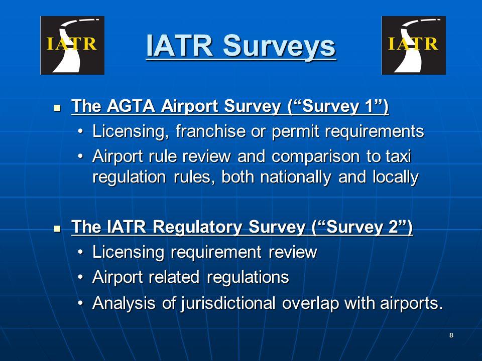 8 IATR Surveys The AGTA Airport Survey (Survey 1) The AGTA Airport Survey (Survey 1) Licensing, franchise or permit requirementsLicensing, franchise o
