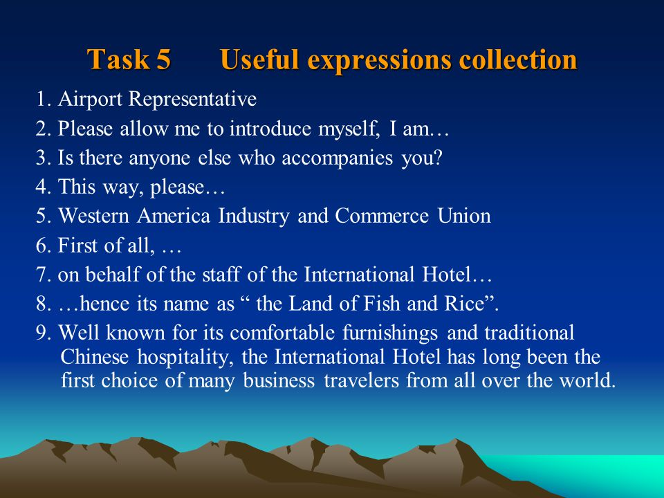Task 5 Useful expressions collection 1. Airport Representative 2.