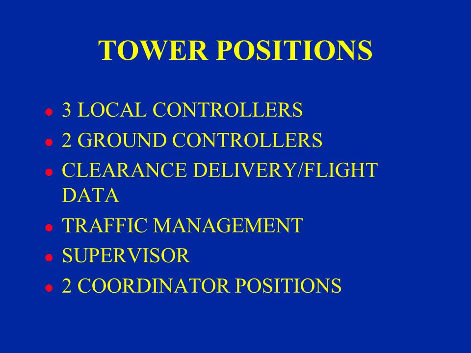 TOWER POSITIONS l 3 LOCAL CONTROLLERS l 2 GROUND CONTROLLERS l CLEARANCE DELIVERY/FLIGHT DATA l TRAFFIC MANAGEMENT l SUPERVISOR l 2 COORDINATOR POSITIONS