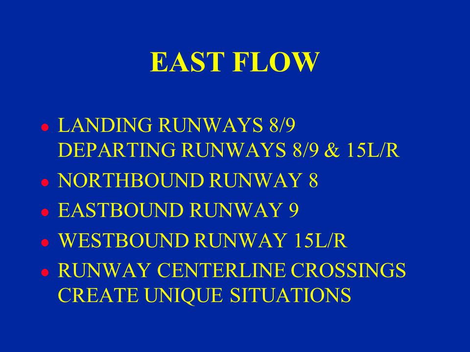 EAST FLOW l LANDING RUNWAYS 8/9 DEPARTING RUNWAYS 8/9 & 15L/R l NORTHBOUND RUNWAY 8 l EASTBOUND RUNWAY 9 l WESTBOUND RUNWAY 15L/R l RUNWAY CENTERLINE CROSSINGS CREATE UNIQUE SITUATIONS