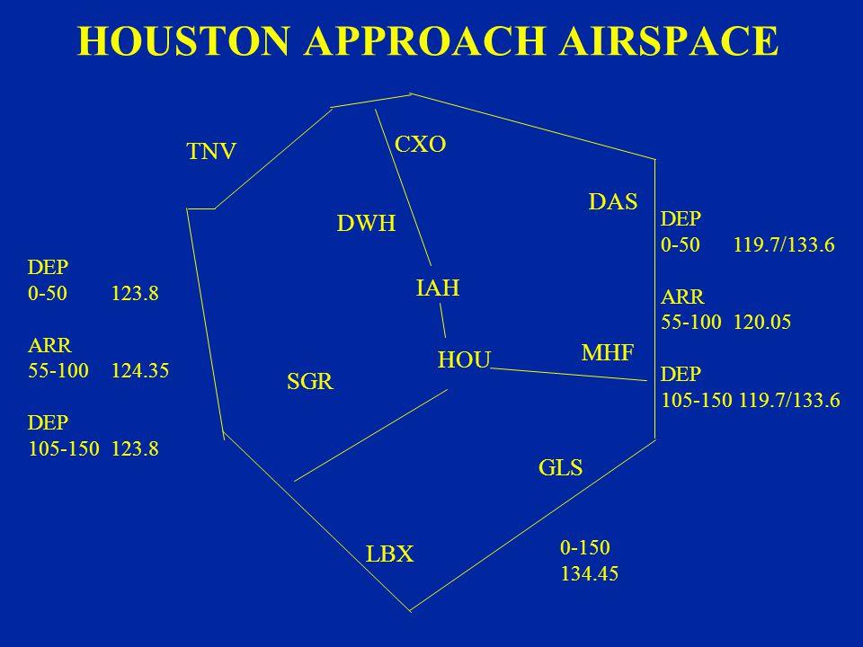 HOUSTON APPROACH AIRSPACE CXO TNV DWH IAH DAS HOU SGR LBX GLS MHF DEP 0-50 119.7/133.6 ARR 55-100 120.05 DEP 105-150 119.7/133.6 DEP 0-50 123.8 ARR 55-100 124.35 DEP 105-150 123.8 0-150 134.45