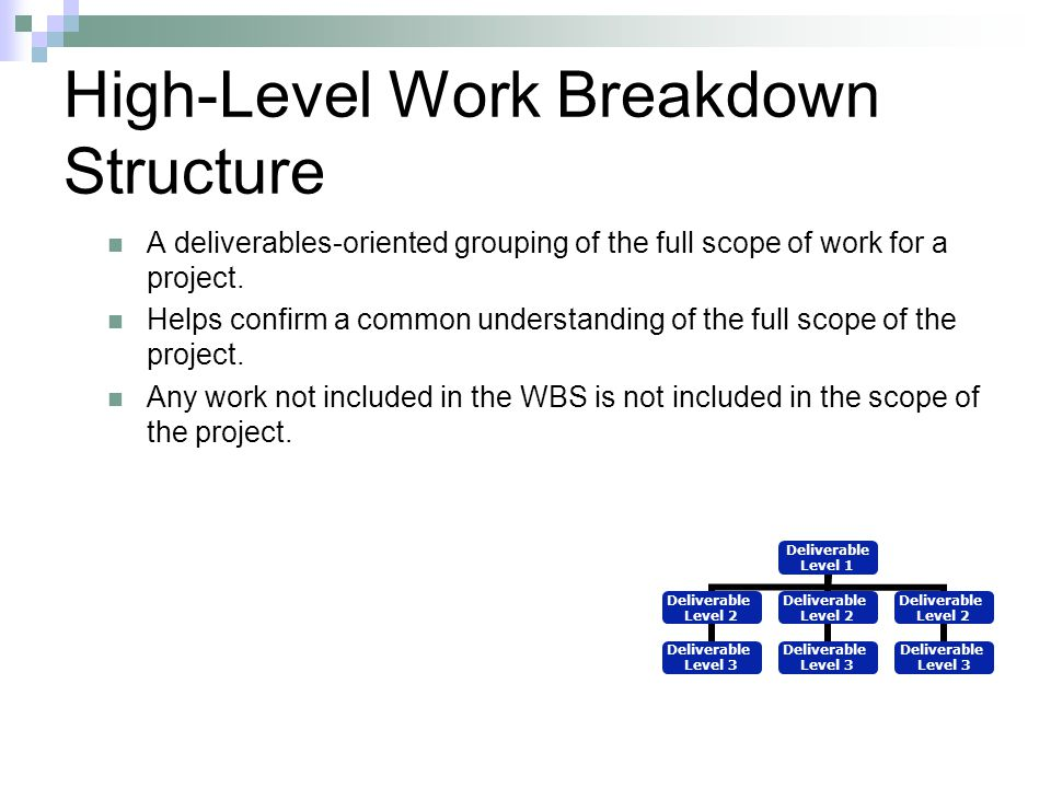 High-Level Work Breakdown Structure A deliverables-oriented grouping of the full scope of work for a project. Helps confirm a common understanding of