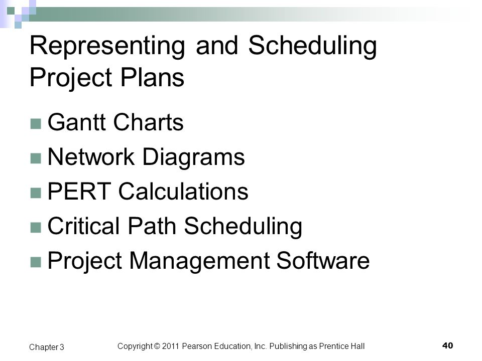 Copyright © 2011 Pearson Education, Inc. Publishing as Prentice Hall Representing and Scheduling Project Plans Gantt Charts Network Diagrams PERT Calc