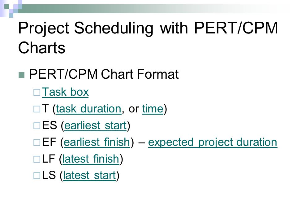 Project Scheduling with PERT/CPM Charts PERT/CPM Chart Format Task box T (task duration, or time)task durationtime ES (earliest start)earliest start E